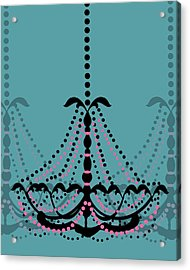 Chandelier Delight 3- Blue Background Acrylic Print