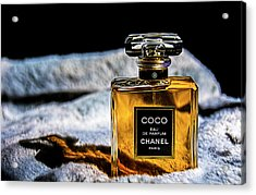 Chanel Vintage Perfume Bottle Acrylic Print by Renee Anderson