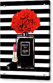Chanel Poster Chanel Print Chanel Perfume Print Chanel With Red Hydragenia 3 Acrylic Print by Del Art