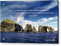 Channel Island National Park - Anacapa Island Arch With Bible Verse Acrylic Print