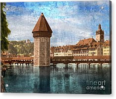 Chapel Bridge In Lucerne Acrylic Print