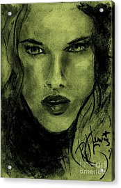 Acrylic Print featuring the drawing char-Carol by P J Lewis