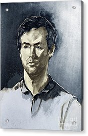 Charcoal Portrait Of A Man In Blue Acrylic Print by Greta Corens