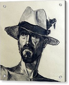 Charcoal Portrait Of A Man Wearing A Summer Hat Acrylic Print