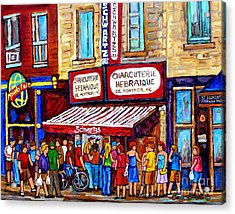 Charcuterie Hebraique Schwartz Line Up Waiting For Smoked Meat Montreal Paintings Carole Spandau     Acrylic Print
