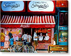 Charcuterie Schwartz's Deli Montreal Acrylic Print by Carole Spandau
