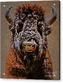 Acrylic Print featuring the digital art Charging Bison by Ray Shiu