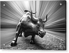 Charging Wall Street Bull B W Acrylic Print