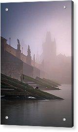 Charles Bridge At Autumn Foggy Day, Prague, Czech Republic Acrylic Print