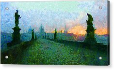 Charles Bridge At Dawn Acrylic Print by Peter Kupcik