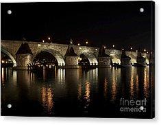 Charles Bridge At Night Acrylic Print by Michal Boubin