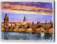 Charles Bridge At Sunset Acrylic Print