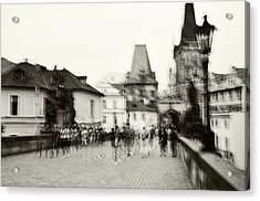 Acrylic Print featuring the photograph Charles Bridge. Black And White. Impressionism by Jenny Rainbow