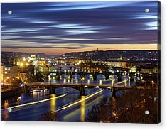 Charles Bridge During Sunset With Several Boats, Prague, Czech Republic Acrylic Print