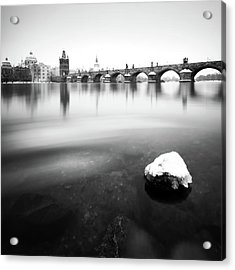 Charles Bridge During Winter Time With Frozen River, Prague, Czech Republic Acrylic Print