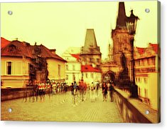 Acrylic Print featuring the photograph Charles Bridge. Golden Prague. Impressionism by Jenny Rainbow