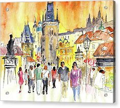 Charles Bridge In Prague In The Czech Republic Acrylic Print by Miki De Goodaboom
