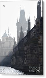 Charles Bridge In The Early Morning Fog Acrylic Print by Michal Boubin