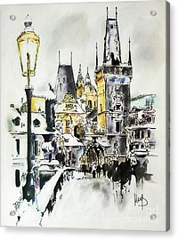 Charles Bridge In Winter Acrylic Print by Melanie D