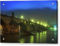 Charles Bridge Night In Prague, Czech Republic Acrylic Print