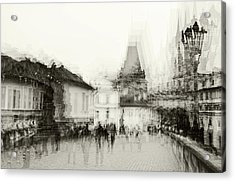 Acrylic Print featuring the photograph Charles Bridge Promenade. Black And White. Impressionism by Jenny Rainbow