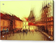 Acrylic Print featuring the photograph Charles Bridge Promenade. Golden Prague. Impressionism by Jenny Rainbow