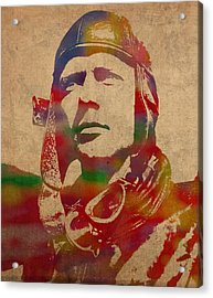Charles Lindbergh Watercolor Portrait Acrylic Print by Design Turnpike