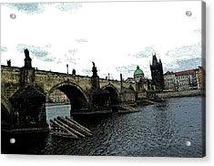 Charles Street Bridge In Prague Acrylic Print by Paul Pobiak
