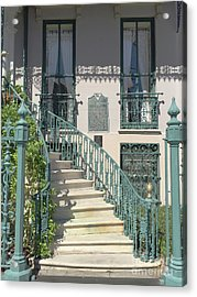 Acrylic Print featuring the photograph Charleston Historical John Rutledge House - Aqua Teal Gate Staircase Architecture - Charleston Homes by Kathy Fornal
