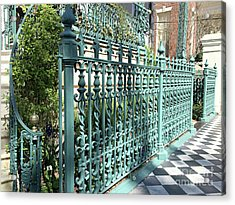Acrylic Print featuring the photograph Charleston Historical John Rutledge House Fleur Des Lis Aqua Teal Gate Fence Architecture  by Kathy Fornal