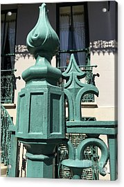 Acrylic Print featuring the photograph Charleston John Rutledge House Fleur De Lis Symbols - French Quarter Architecture Gate Posts by Kathy Fornal