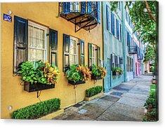 Charleston's Rainbow Row Acrylic Print by Drew Castelhano
