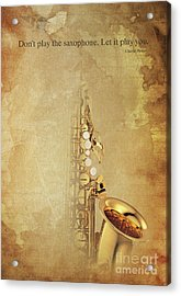 Charlie Parker Saxophone Brown Vintage Poster And Quote, Gift For Musicians Acrylic Print by Pablo Franchi
