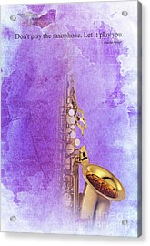 Charlie Parker Saxophone Purple Vintage Poster And Quote, Gift For Musicians Acrylic Print by Pablo Franchi