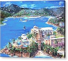 Charlotte Amalie Marriott Frenchmans Beach Resort St. Thomas Us Virgin Island Aerial Acrylic Print by Bernadette Krupa