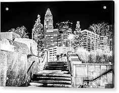 Charlotte At Night Black And White Photo Acrylic Print by Paul Velgos