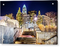 Charlotte At Night With Romare Bearden Park Acrylic Print by Paul Velgos