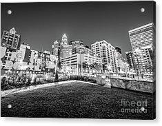 Charlotte City Black And White Photo Acrylic Print by Paul Velgos