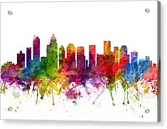 Charlotte Cityscape 06 Acrylic Print by Aged Pixel