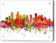 Charlotte Cityscape 08 Acrylic Print by Aged Pixel