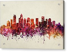 Charlotte Cityscape 09 Acrylic Print by Aged Pixel