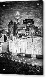 Charlotte Cityscape At Night Black And White Photo Acrylic Print by Paul Velgos