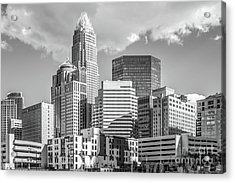 Charlotte Downtown Black And White Photo Acrylic Print by Paul Velgos