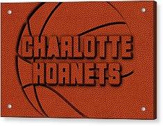 Charlotte Hornets Leather Art Acrylic Print by Joe Hamilton