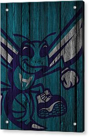 Charlotte Hornets Wood Fence Acrylic Print