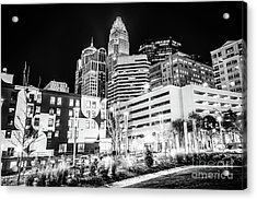 Charlotte Nc Downtown Black And White Photo Acrylic Print by Paul Velgos
