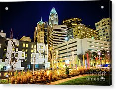 Charlotte Nc Downtown City At Night Photo Acrylic Print by Paul Velgos