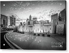 Charlotte Nc Skyline Black And White Photo Acrylic Print by Paul Velgos