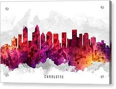 Charlotte North Carolina Cityscape 14 Acrylic Print by Aged Pixel