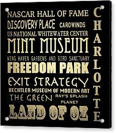 Charlotte North Carolina Famous Landmarks Acrylic Print